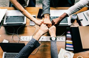 Marketing team in huddle